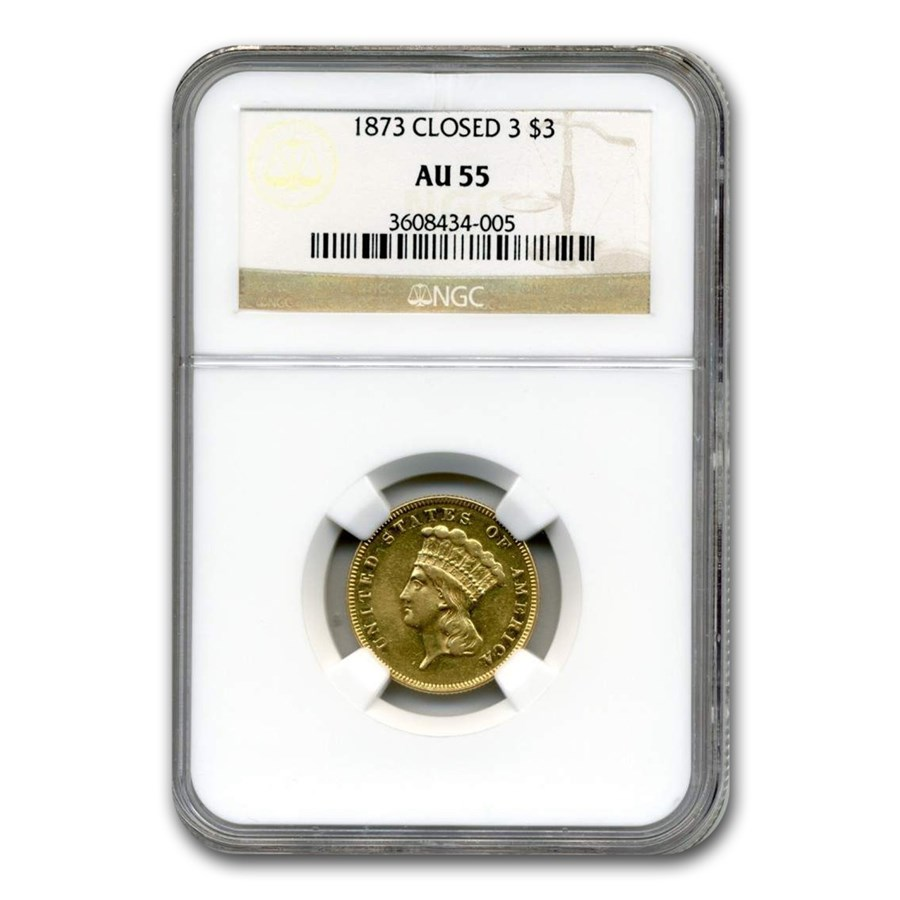 1873 $3 Gold Princess AU-55 NGC (Closed 3)