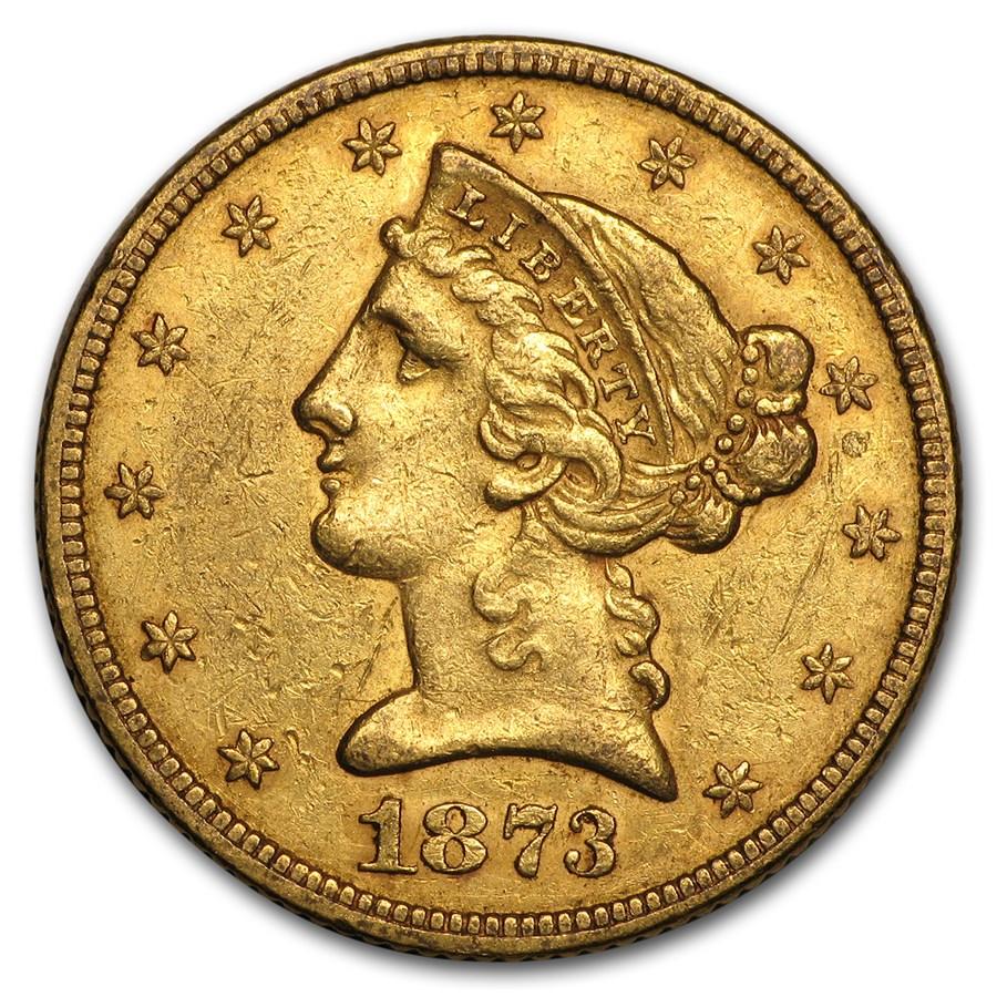 1873 $5 Liberty Gold Half Eagle Open 3 AU