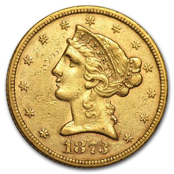 1873 $5 Liberty Gold Half Eagle Open 3 XF