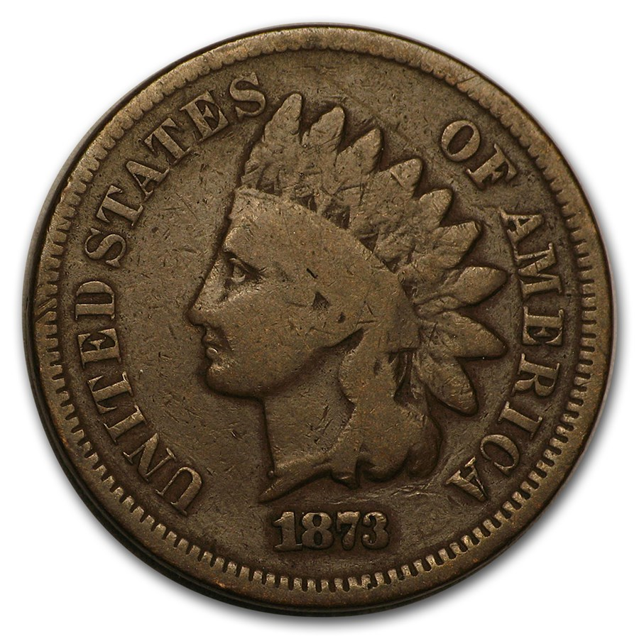 1873 Indian Head Cent Closed 3 Good