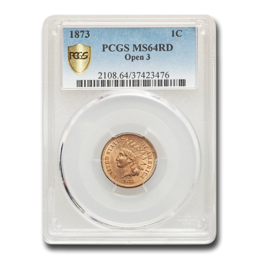 1873 Indian Head Cent MS-64 PCGS (Red, Open 3)