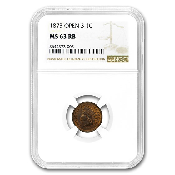 1873 Indian Head CentOpen 3 MS-63 NGC (Red/Brown)