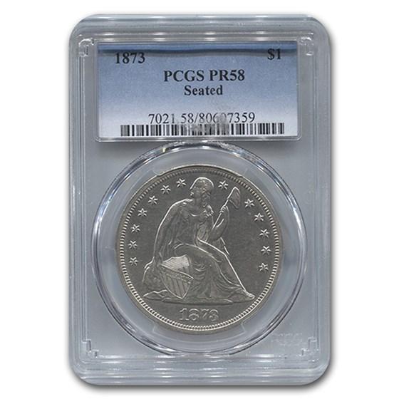 1873 Liberty Seated Dollar PR-58 PCGS
