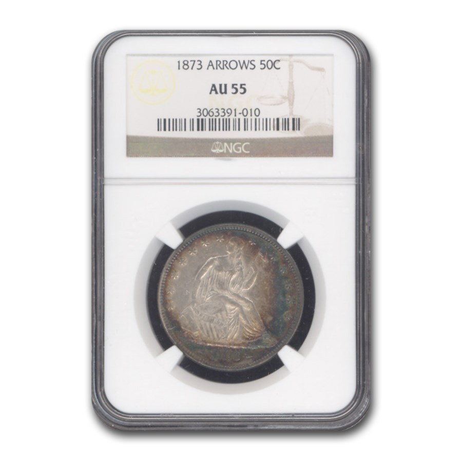 1873 Liberty Seated Half Dollar AU-55 NGC (Arrows)