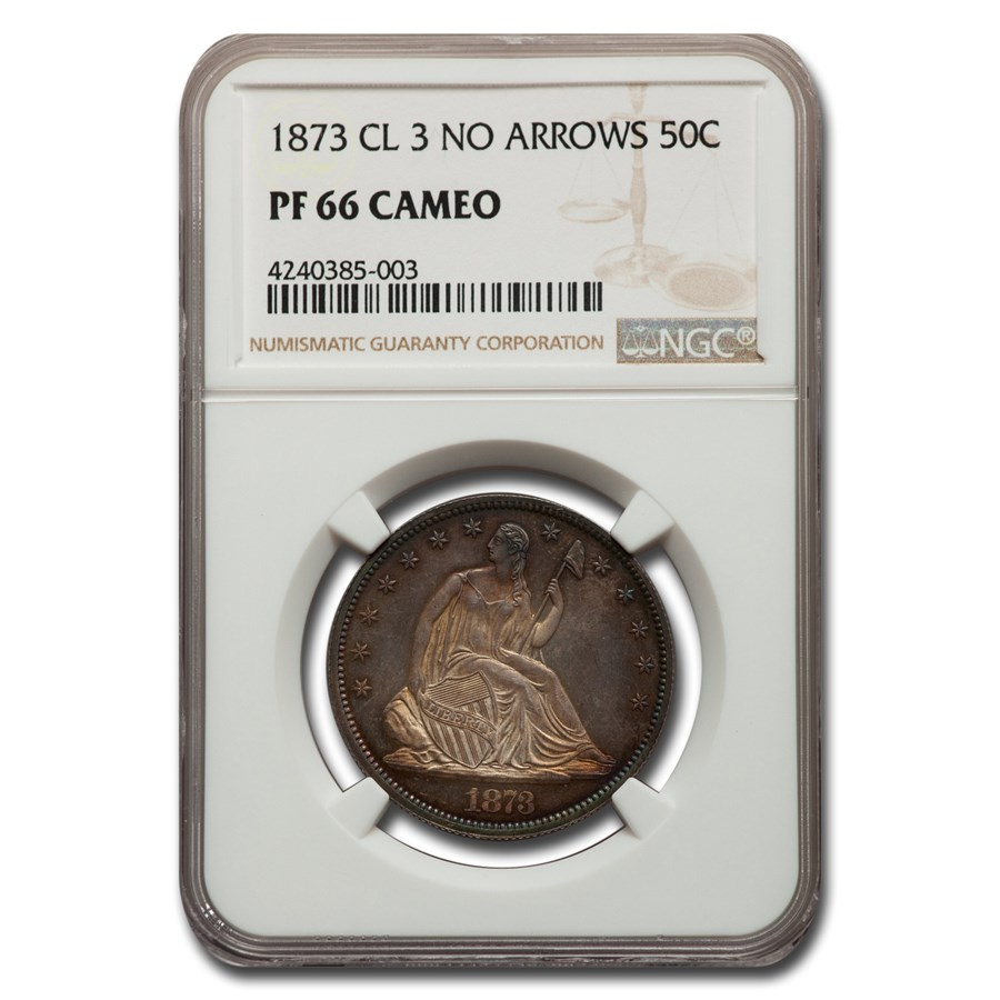 1873 Liberty Seated Half Dollar PF-66 Cameo NGC (Cl 3 No Arrows)