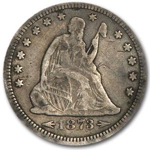 1873 Liberty Seated Quarter w/arrows VF