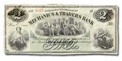 1873 Mechanics & Traders Bank of New Orleans $2.00 Certificate