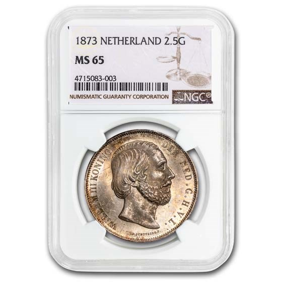 1873 Netherlands Silver 2 1/2 Gulden Wilhelm III MS-65 NGC