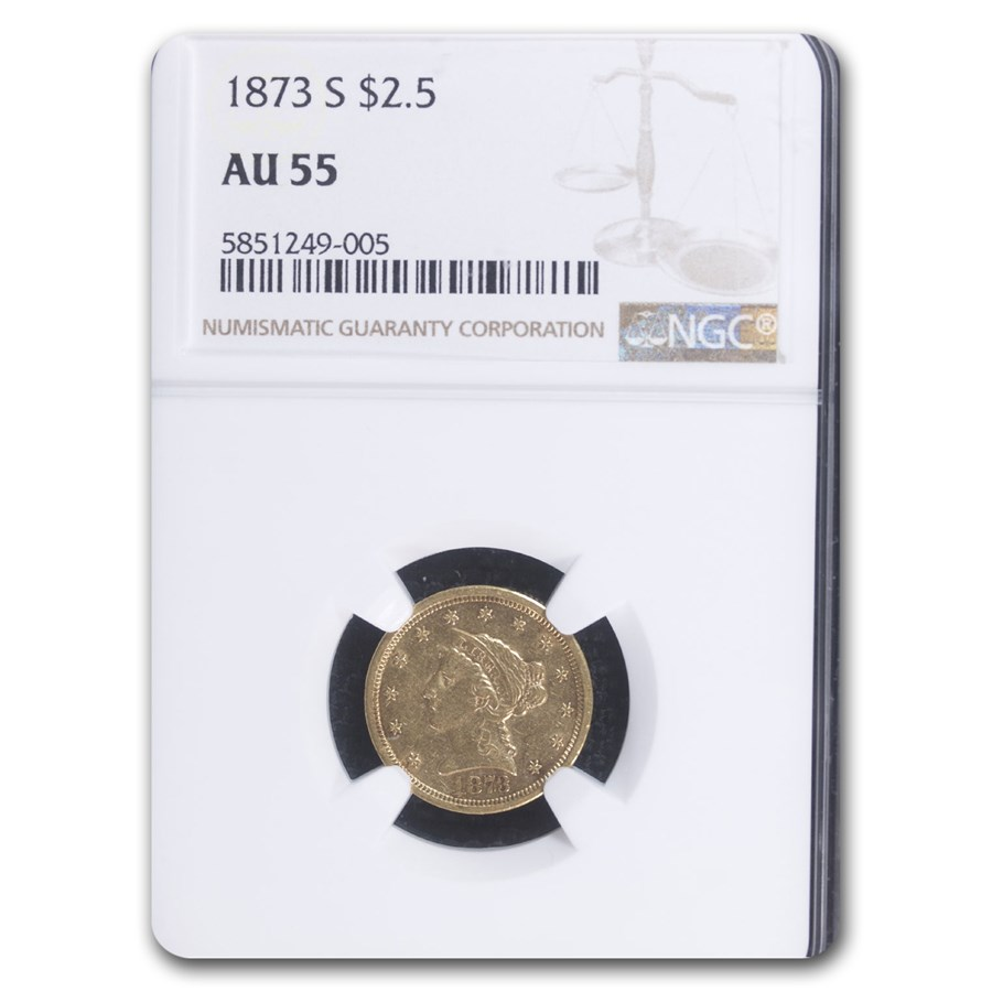 1873-S $2.50 Liberty Gold Quarter Eagle AU-55 NGC