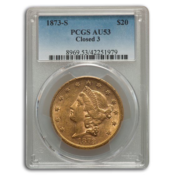 1873-S $20 Liberty Gold Double Eagle AU-53 PCGS (Closed 3)