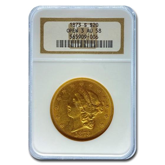 1873-S $20 Liberty Gold Double Eagle AU-58 NGC (Open 3)