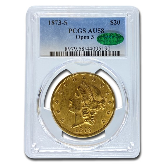 1873-S $20 Liberty Gold Double Eagle AU-58 PCGS CAC (Open 3)