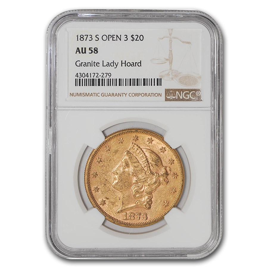 1873-S $20 Liberty Gold Double Eagle Closed 3 AU-58 NGC
