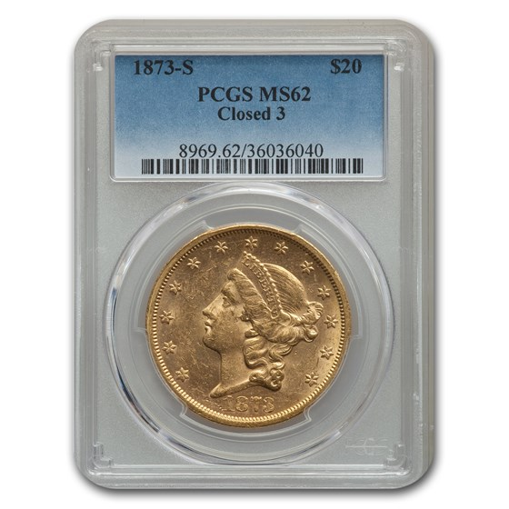 1873-S $20 Liberty Gold Double Eagle Closed 3 MS-62 PCGS