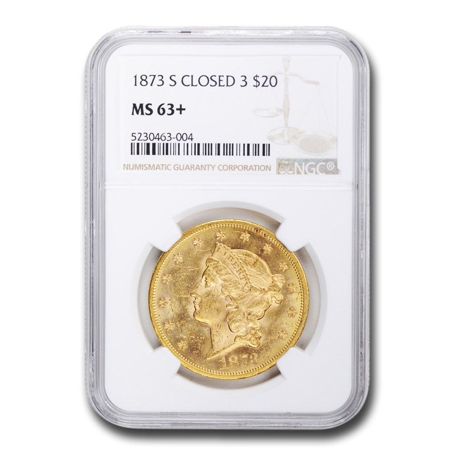 1873-S $20 Liberty Gold Double Eagle MS-63+ NGC (Closed 3)