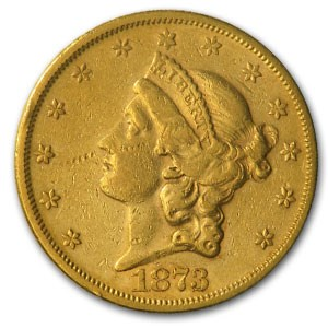 1873-S $20 Liberty Gold Double Eagle Open 3 XF