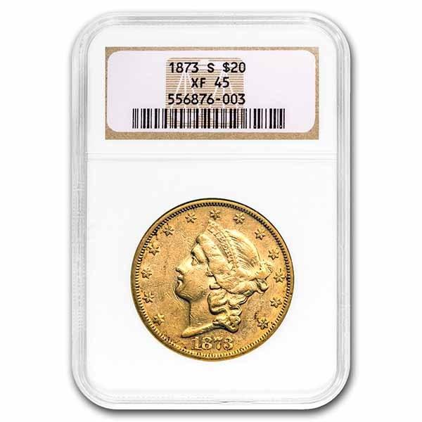 1873-S $20 Liberty Gold Double Eagle XF-45 NGC