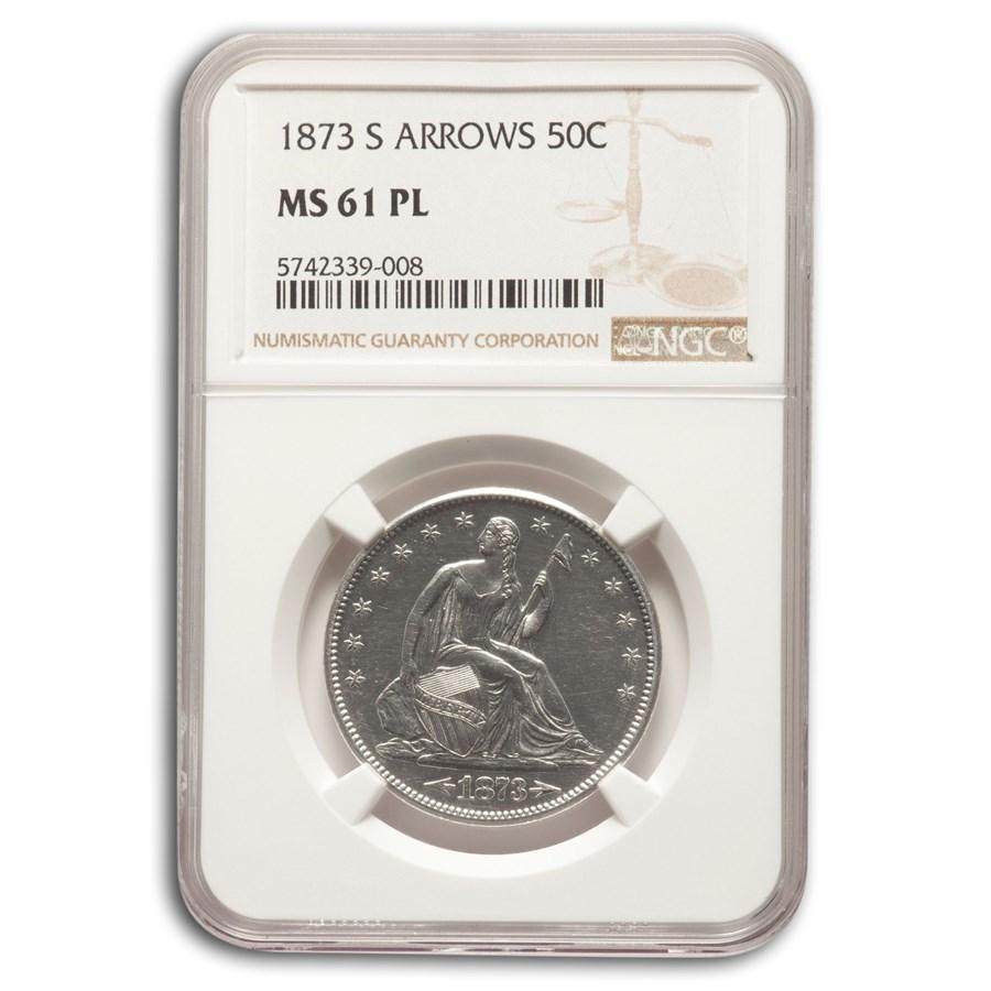 1873-S Liberty Seated Half Dollar w/Arrows MS-61 NGC (PL)