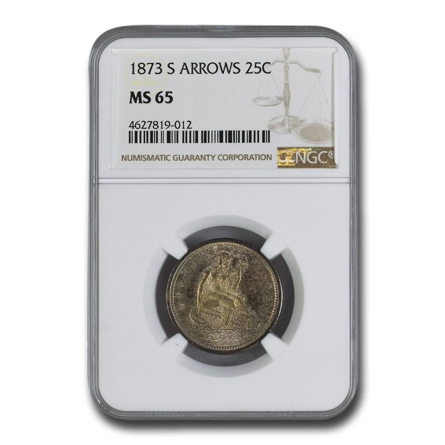 1873-S Liberty Seated Quarter MS-65 NGC (Arrows)