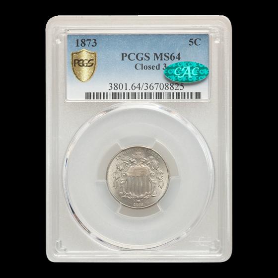1873 Shield Nickel MS-64 PCGS CAC (Closed 3)