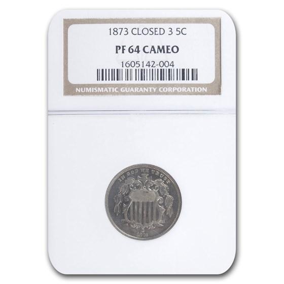 1873 Shield Nickel PF-64 Cameo NGC (Closed 3)