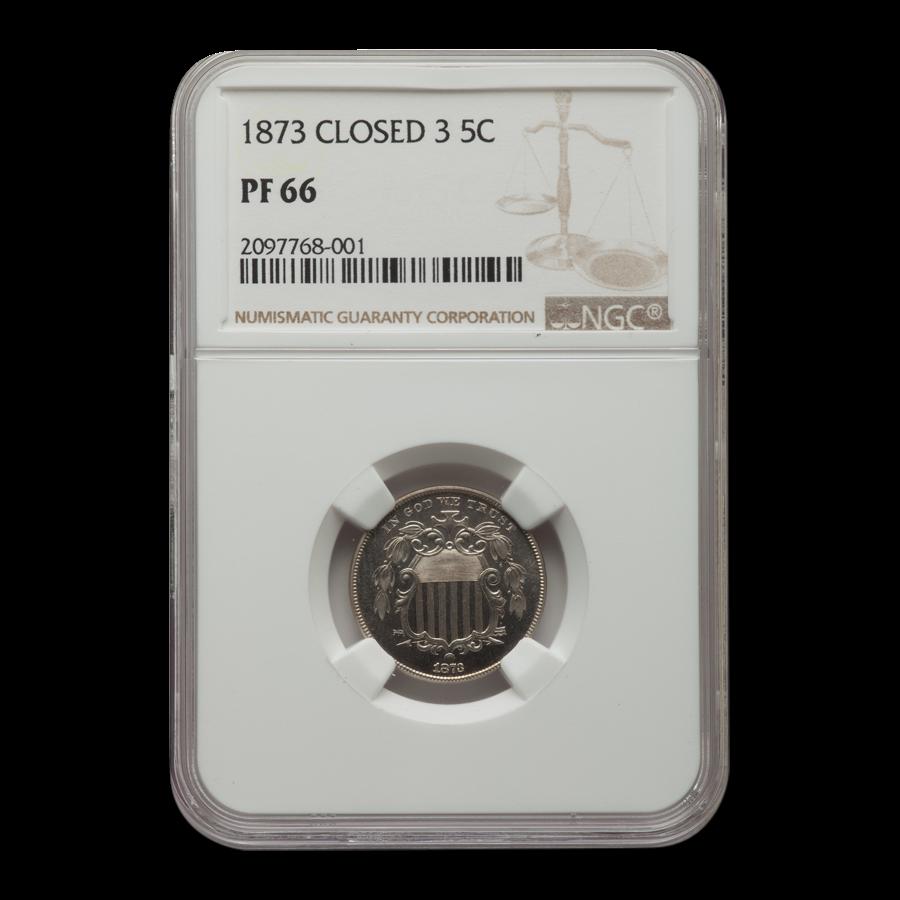 1873 Shield Nickel PF-66 NGC (Closed 3)