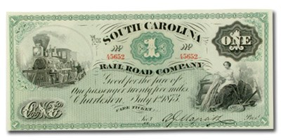 1873 South Carolina Rail Road Company $1.00 UNL CU