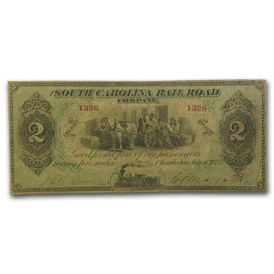 1873 South Carolina Rail Road Company $2.00 Fine