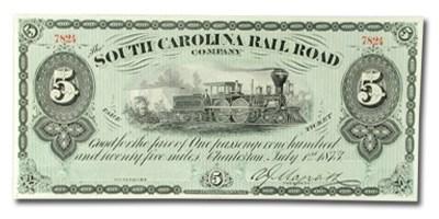 1873 South Carolina Rail Road Company $5.00 UNL CU