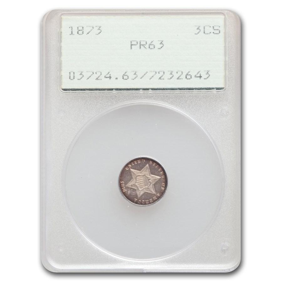 1873 Three Cent Silver PR-63 PCGS