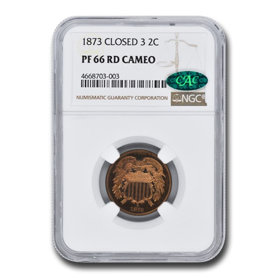 1873 Two Cent Piece PF-66 Cameo NGC CAC (Red, Closed 3)