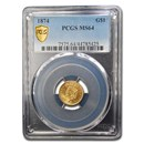 1874 $1 Indian Head Gold MS-64 PCGS