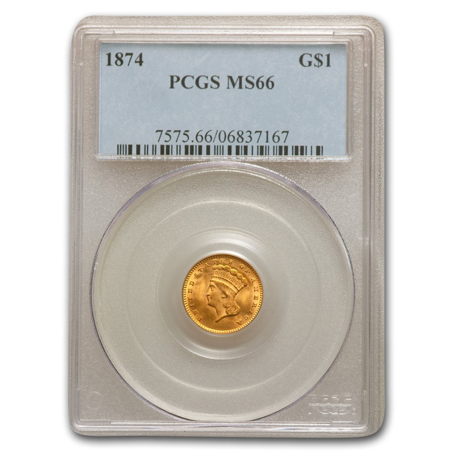 1874 $1 Indian Head Gold MS-66 PCGS