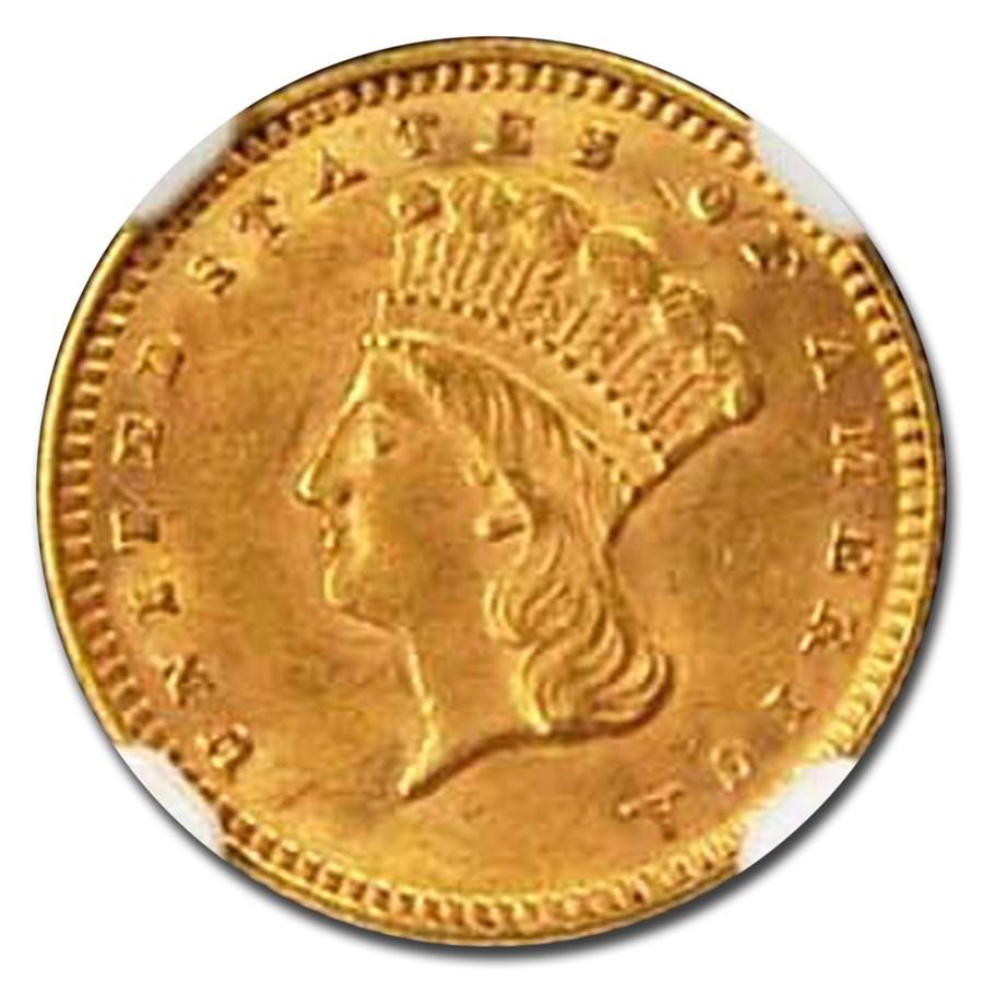 1874 $1 Liberty Head Gold MS-62 NGC