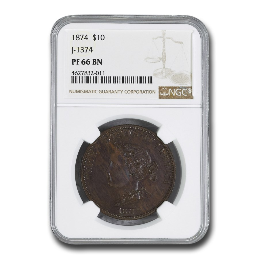 1874 $10 Dollar Bickford Pattern PF-66 BN NGC (J-1374)