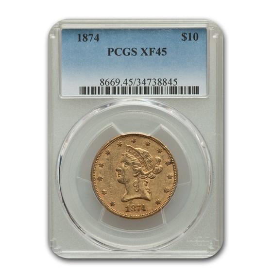1874 $10 Liberty Gold Eagle XF-45 PCGS