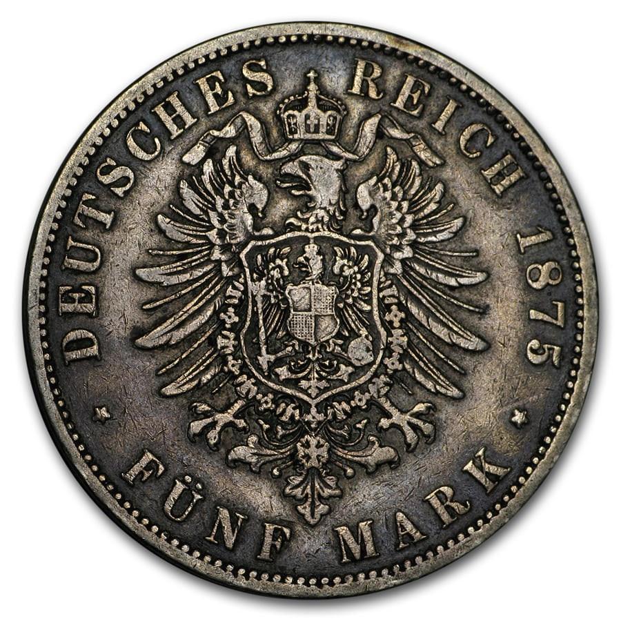1874-1876 Germany Silver 5 Mark Prussia Wilhelm I Avg Circ