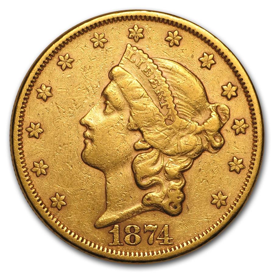 1874 $20 Liberty Gold Double Eagle AU