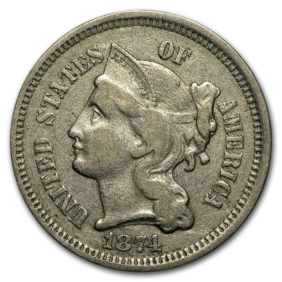 1874 3 Cent Nickel VF