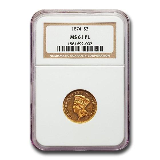 1874 $3 Gold Princess MS-61 NGC (PL)