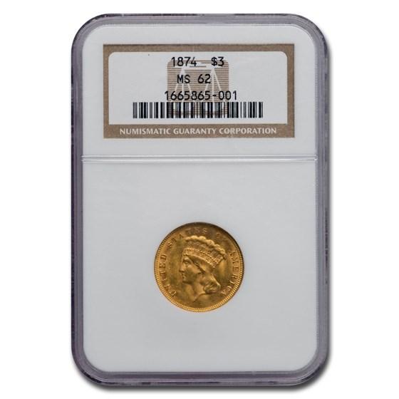1874 $3 Gold Princess MS-62 NGC