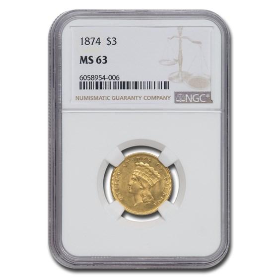 1874 $3 Gold Princess MS-63 NGC