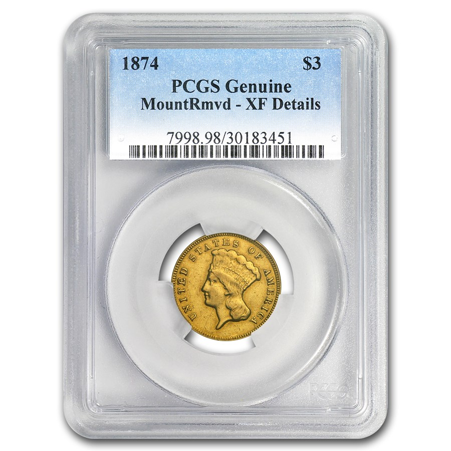 1874 $3 Gold Princess XF Details PCGS (Cleaned)