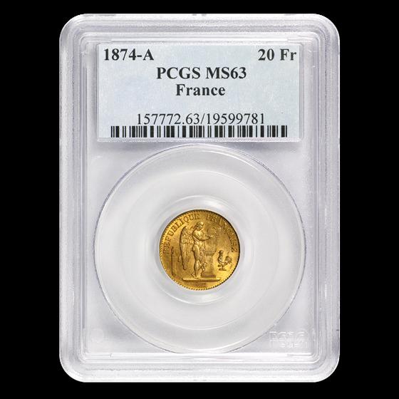 1874-A France Gold 20 Francs Angel MS-63 PCGS