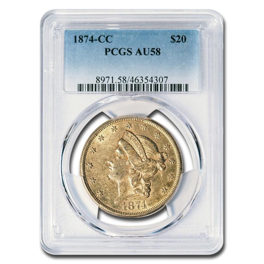 1874-CC $20 Liberty Gold Double Eagle AU-58 PCGS