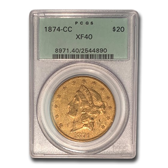 1874-CC $20 Liberty Gold Double Eagle XF-40 PCGS