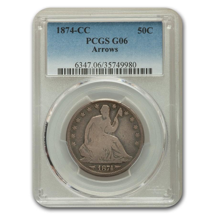 1874-CC Liberty Seated Half Dollar Good-6 PCGS (Arrows)
