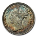 1874 Great Britain Silver Threepence Victoria MS-66 NGC