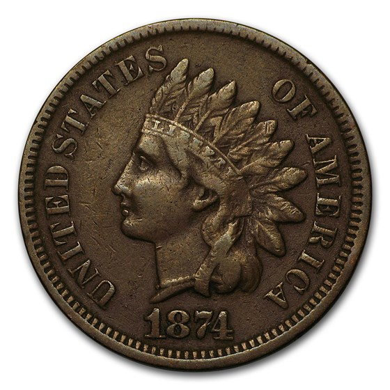 1874 Indian Head Cent VF