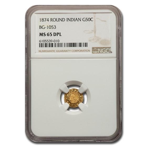 1874 Indian Round 50 Cent Gold MS-65 NGC (DPL, BG-1053)